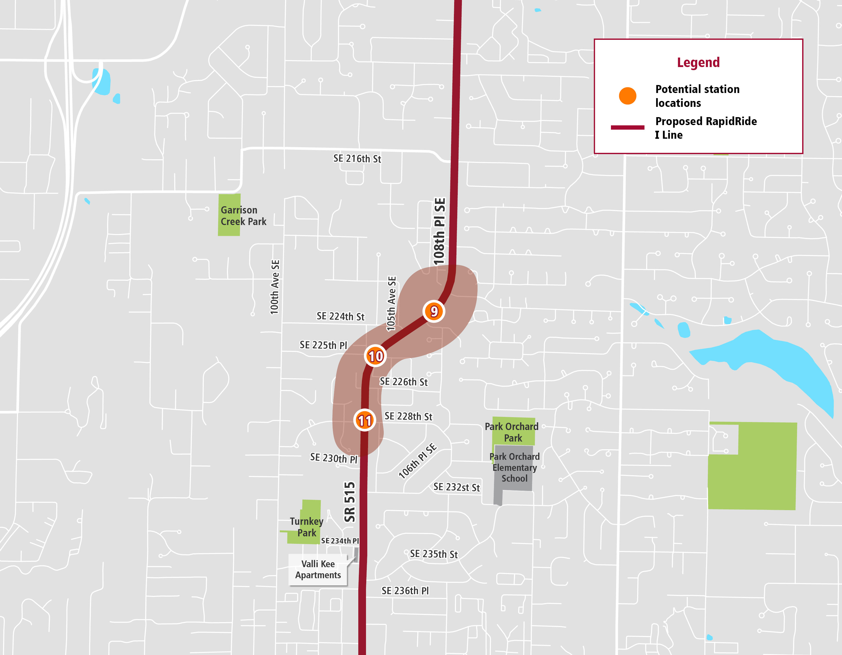 Map of proposed bus stops in Kent Washington