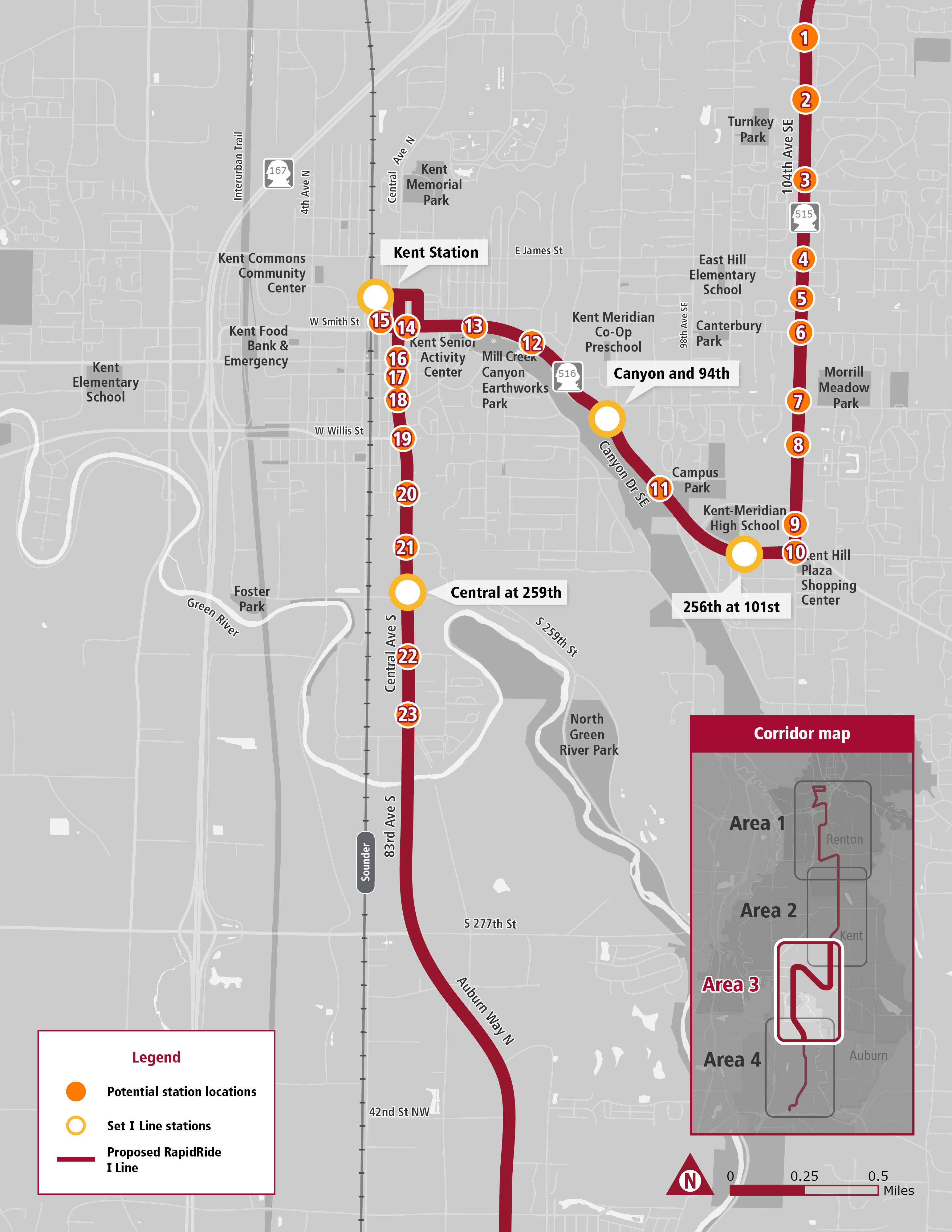 Map of proposed stops along I line route