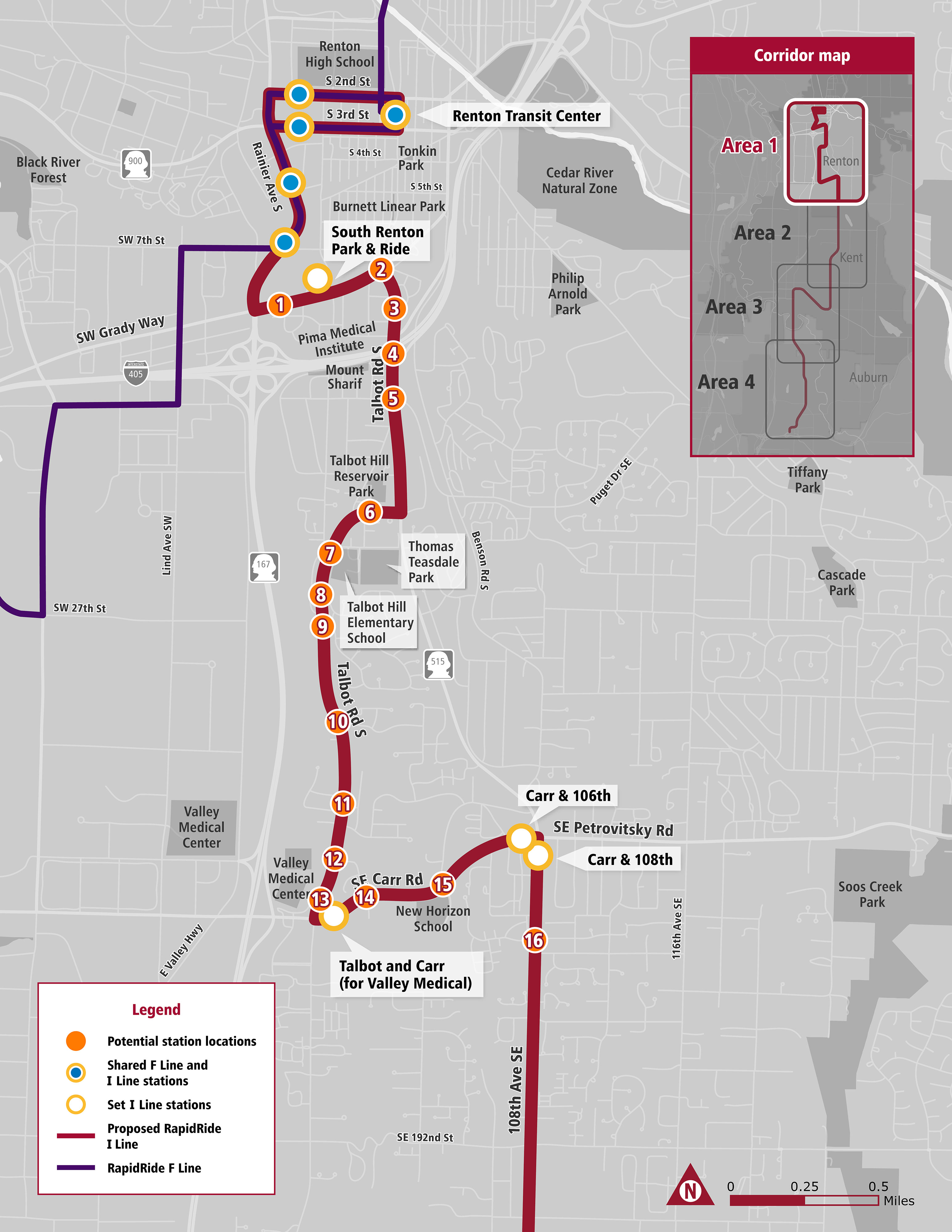 Map of proposed bus stops on I line route