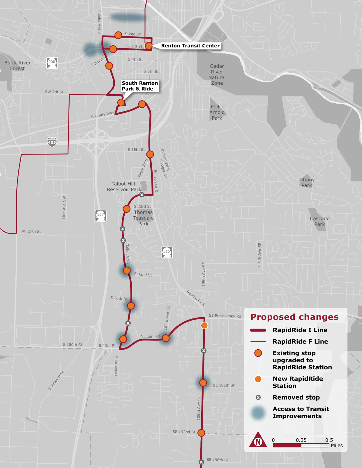 Map of proposed changes to RapidRide I Line, F Line, existing and new RapidRide stations, local bus service, and access to Transit Improvements