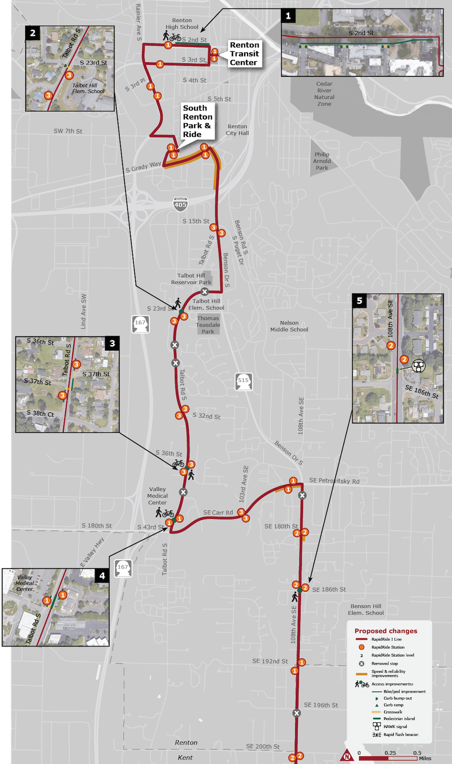 A map of station locations, speed and reliability projects, and numbered callouts showing access projects.