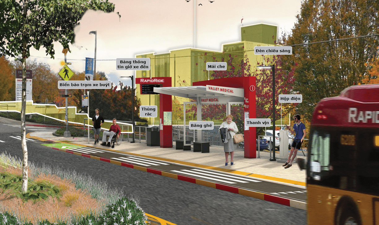 Level 1 stations have a shelter, lighting, real-time arrival information, benches, leaning rails and waste cans.